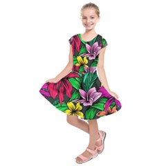 Neon Hibiscus Kids  Short Sleeve Dress
