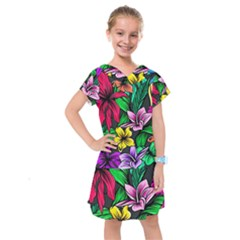 Neon Hibiscus Kids  Drop Waist Dress