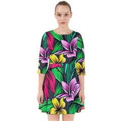 Neon Hibiscus Smock Dress