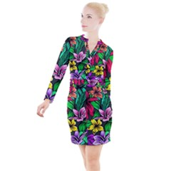 Neon Hibiscus Button Long Sleeve Dress