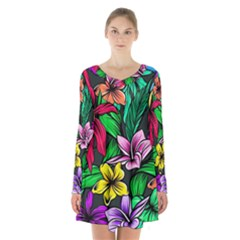 Neon Hibiscus Long Sleeve Velvet V Neck Dress