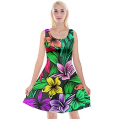 Neon Hibiscus Reversible Velvet Sleeveless Dress