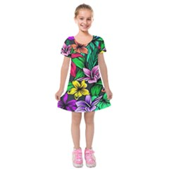 Neon Hibiscus Kids  Short Sleeve Velvet Dress