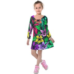 Neon Hibiscus Kids  Long Sleeve Velvet Dress