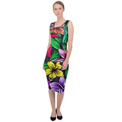 Neon Hibiscus Sleeveless Pencil Dress