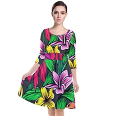 Neon Hibiscus Quarter Sleeve Waist Band Dress