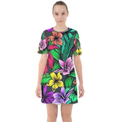 Neon Hibiscus Sixties Short Sleeve Mini Dress