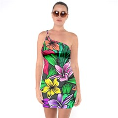 Neon Hibiscus One Soulder Bodycon Dress