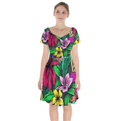 Neon Hibiscus Short Sleeve Bardot Dress