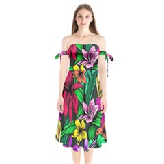 Neon Hibiscus Shoulder Tie Bardot Midi Dress