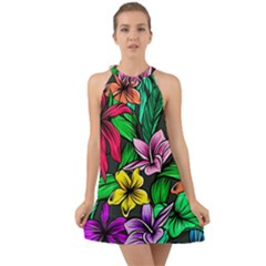 Neon Hibiscus Halter Tie Back Chiffon Dress