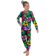 Neon Hibiscus Kids  Long Sleeve Set