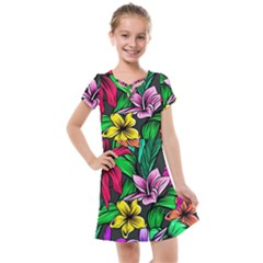 Neon Hibiscus Kids  Cross Web Dress