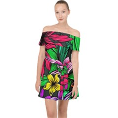 Neon Hibiscus Off Shoulder Chiffon Dress