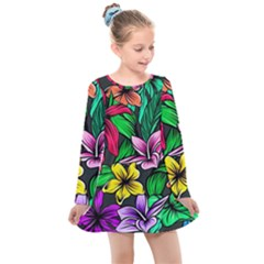 Neon Hibiscus Kids  Long Sleeve Dress