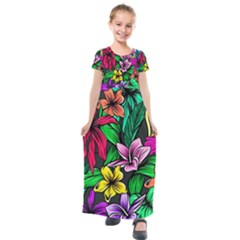 Neon Hibiscus Kids  Short Sleeve Maxi Dress