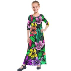 Neon Hibiscus Kids  Quarter Sleeve Maxi Dress