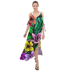 Neon Hibiscus Maxi Chiffon Cover Up Dress