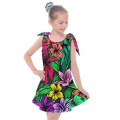 Neon Hibiscus Kids  Tie Up Tunic Dress