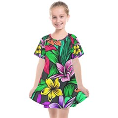 Neon Hibiscus Kids  Smock Dress