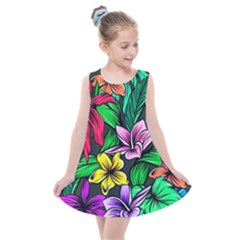 Neon Hibiscus Kids  Summer Dress