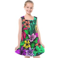 Neon Hibiscus Kids  Cross Back Dress