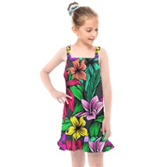 Neon Hibiscus Kids  Overall Dress