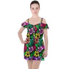 Neon Hibiscus Ruffle Cut Out Chiffon Playsuit