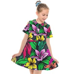 Neon Hibiscus Kids  Short Sleeve Shirt Dress