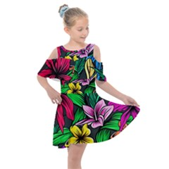 Neon Hibiscus Kids  Shoulder Cutout Chiffon Dress
