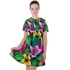 Neon Hibiscus Short Sleeve Shoulder Cut Out Dress