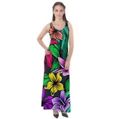 Neon Hibiscus Sleeveless Velour Maxi Dress