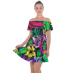 Neon Hibiscus Off Shoulder Velour Dress