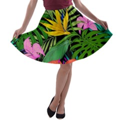 Tropical Adventure A Line Skater Skirt