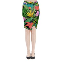 Tropical Adventure Midi Wrap Pencil Skirt