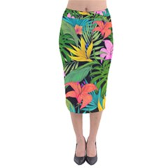 Tropical Adventure Velvet Midi Pencil Skirt