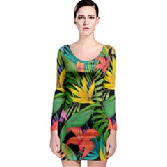 Tropical Adventure Long Sleeve Bodycon Dress