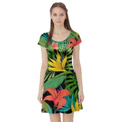 Tropical Adventure Short Sleeve Skater Dress