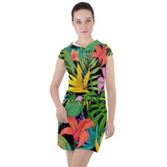 Tropical Adventure Drawstring Hooded Dress