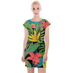 Tropical Adventure Cap Sleeve Bodycon Dress