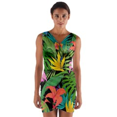 Tropical Adventure Wrap Front Bodycon Dress