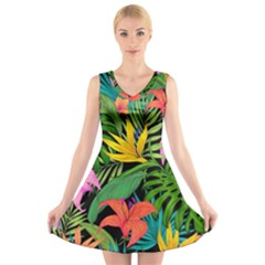Tropical Adventure V Neck Sleeveless Dress