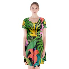 Tropical Adventure Short Sleeve V Neck Flare Dress