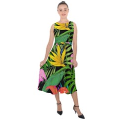 Tropical Adventure Midi Tie Back Chiffon Dress