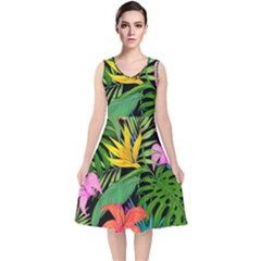 Tropical Adventure V Neck Midi Sleeveless Dress