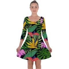 Tropical Adventure Quarter Sleeve Skater Dress