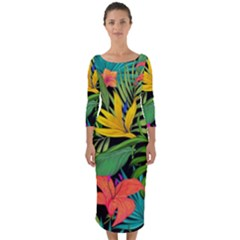 Tropical Adventure Quarter Sleeve Midi Bodycon Dress