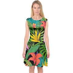 Tropical Adventure Capsleeve Midi Dress