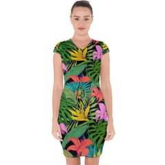 Tropical Adventure Capsleeve Drawstring Dress