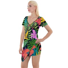 Tropical Adventure Short Sleeve Asymmetric Mini Dress